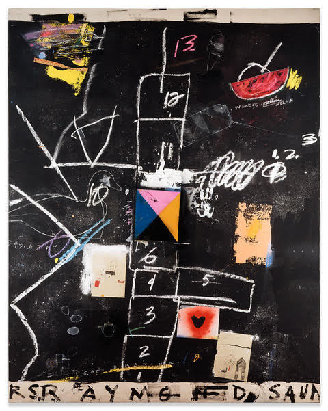 Painting by Raymond Saunders, Celeste Age Five Invited Me To Tea, 1986. Mixed media on canvas 104 x 83 11/4 in.